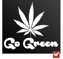 Sticker go green weed ganja canna