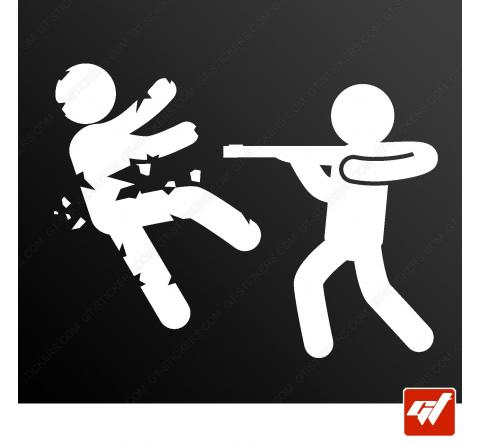 Sticker zombie eclate au fusil