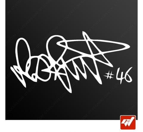 Sticker signature rossi moto gp