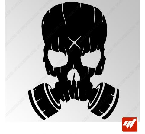 Sticker masque a gaz zombie gasmak