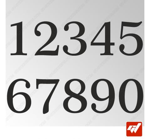 3X Stickers Numéros au choix - Style Classic