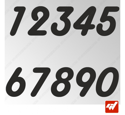 3X Stickers Numéros au choix - Style Round