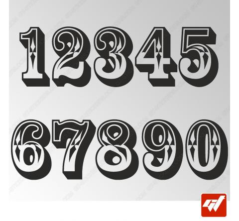 3X Stickers Numéros au choix - Style Saloon