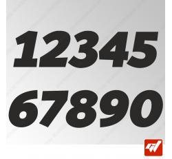 3X Stickers Numéros au choix - Style GP
