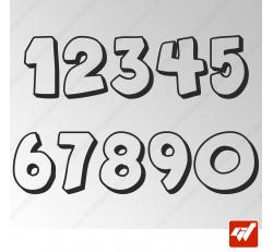 3X Stickers Numéros au choix - Style Cartoon