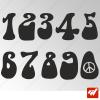 3X Stickers Numéros au choix - Style Hippie