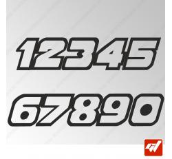 3X Stickers Numéros au choix - Style Race