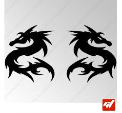2 Stickers Dragon Tribal 8