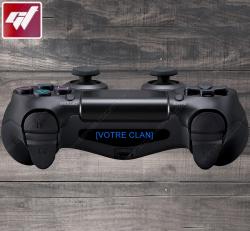4X Stickers PS4 LIGHT BAR - NOM DE VOTRE CLAN / VOTRE TEXTE