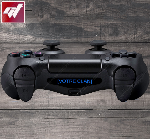4X Stickers PS4 LIGHT BAR - NOM DE VOTRE CLAN / VOTRE TEXTE