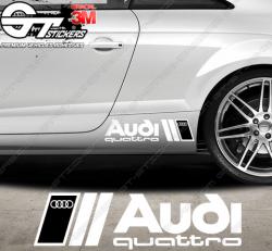Kit 2x stickers Audi Quattro Bicolore