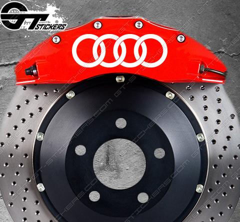 Kit 4x Stickers Anneaux Audi pour étriers de frein.