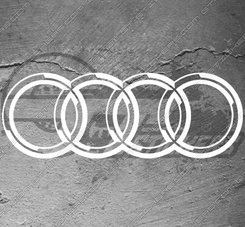 Kit 2 Stickers Anneaux Audi Quattro XXL 750 mm