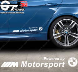 Sticker Powered by BMW M Motorsport avec sigle, taille au choix.
