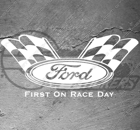 Sticker Ford first on race day, taille au choix