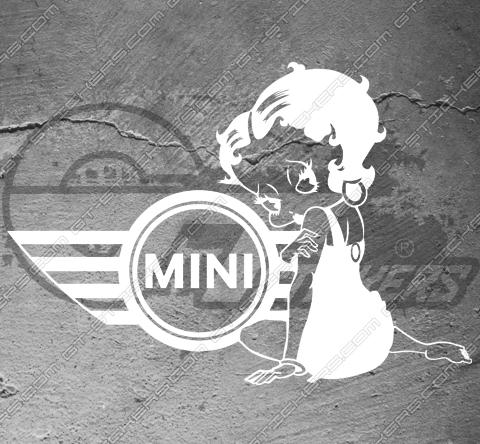 Sticker Mini Cooper Betty Boop, taille au choix