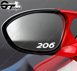 3 Stickers Peugeot 206 pour rétroviseurs