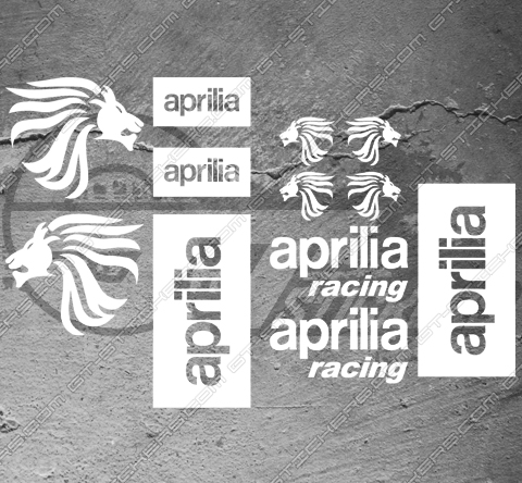 Planche de 12 stickers aprilia racing