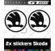 2 Stickers Logo Skoda 90 mm