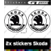 2 Stickers Logo Skoda Lauriers 90 mm