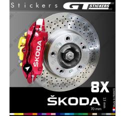 8 Stickers Skoda pour étriers de frein
