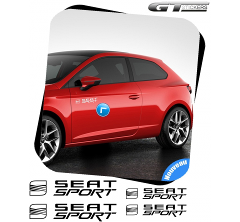 4 Stickers Seat Sport + Logo 200 mm et 95 mm
