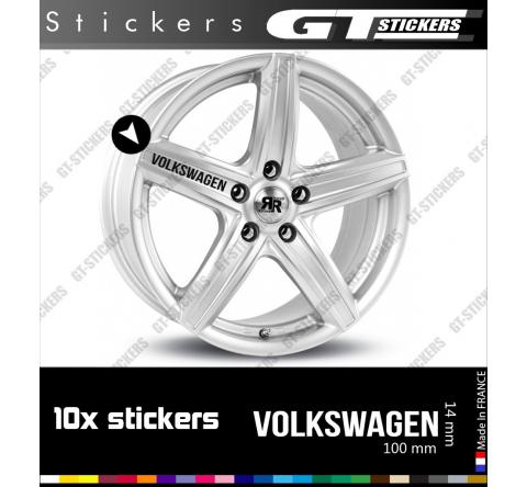 10 Stickers VW Volkswagen pour jantes