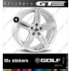 10 Stickers VW Volkswagen Golf pour jantes