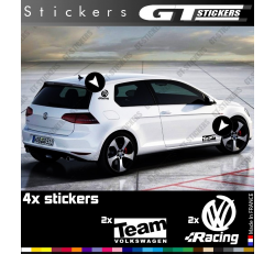 4 Stickers Volkswagen Racing et Team 145 mm