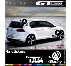 4 Stickers Volkswagen Racing et Team 145 mm