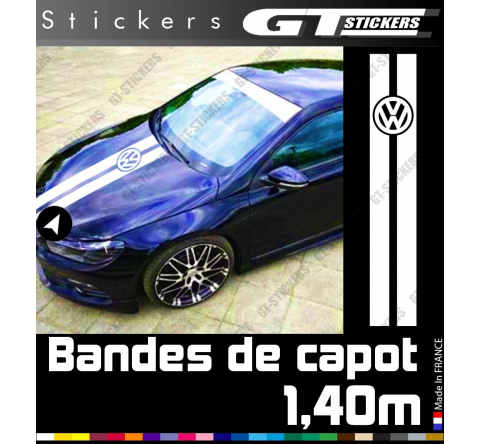Kit Sticker Bande de capot Logo Vw Volkswagen 1400 mm