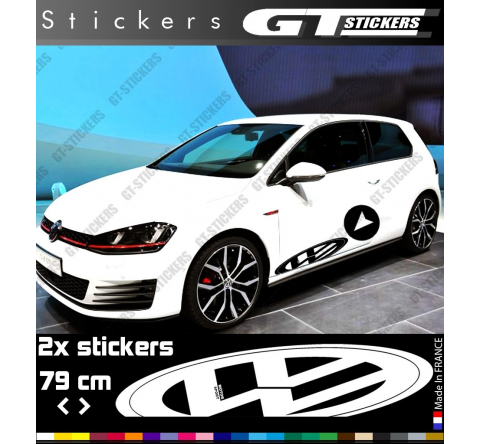 Kit 2 Stickers Logo VW Volkswagen 3D Style Perspective XL