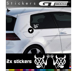2 Stickers Volkswagen Devil 90 mm