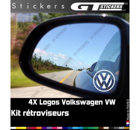 4 Stickers Logo VW Volkswagen pour retroviseurs