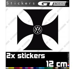 2 Stickers VW Volkswagen Croix De Malte 120 mm