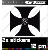 2 Stickers VW Volkswagen Croix De Malte 120 mm