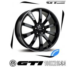 6 Stickers VW Volkswagen GTI pour jantes