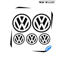 5 Stickers Logo VW Volkswagen 100 mm et 60 mm