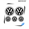 5 Stickers Logo alternative VW Volkswagen 100 mm et 60 mm