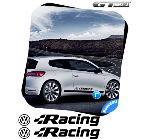 2 Stickers VW VOLKSWAGEN Racing + Logo 400 mm