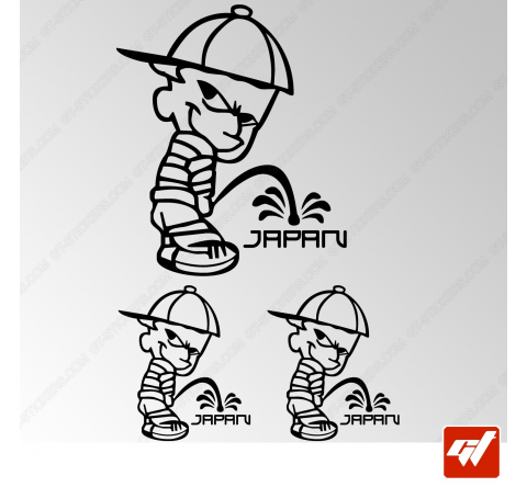 Planche de 3 stickers JDM JAPAN