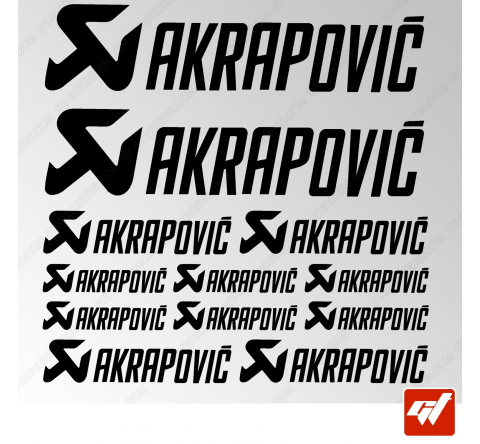 Planche de 12 stickers AKRAPOVIC style alternatif