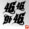Planche de 4 stickers ROSSI 46 THE DIABLO
