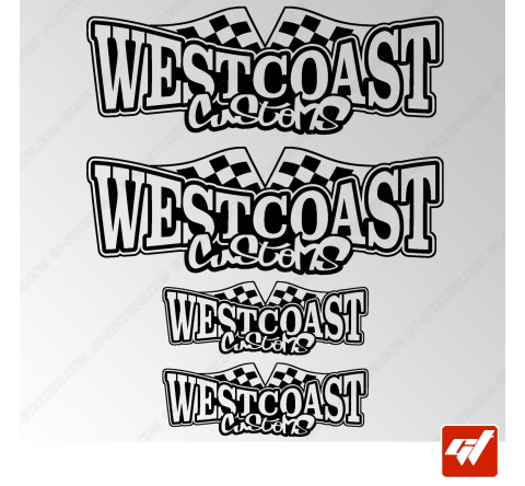 Planche de 4 stickers WESTCOAST